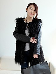 Fashion Long Sleeve Collarless Faux Fur Party/Casual Coat (More Colors)