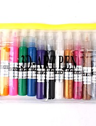 12 PCS Nail Art 3D Kits Art Pen polonais