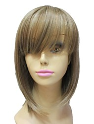 Capless High Quality Synthetic Auburn Red Medium Length Wave Full Bang Wigs