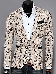 Blazer Hommes,Imprimé Décontracté / Quotidien Travail Manches Longues Coton Polyester