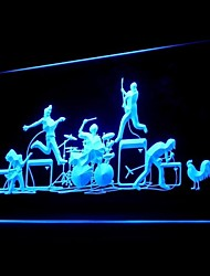BAND Rock Roll LED Sign Propaganda Luz