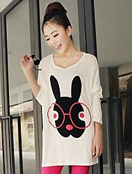 Women's Glasses Rabbit Printing  Big Yards Loose Long-sleeved  T-Shirt