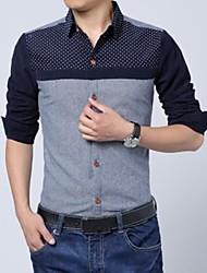 camisas de pana empalme manga larga de la solapa de los hombres (ubicación botón al azar)