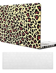 Yellow Leopard Grain Design PC Hard Case with Keyboard Cover Skin for MacBook Pro
