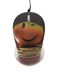 Smiley Face Mini Color Printing Optical Retractable Cable USB Mouse