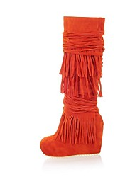 Women's Shoes Spring / Fall / Winter Wedges / Fashion Boots Dress Wedge Heel Tassel Black / Red / Orange