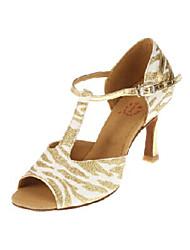 Vrouwen Sexy sprankelende glitter bovenste gestreepte T Strap High Heel Dance Sandalen