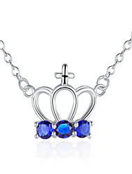 Fine Jewelry 925 Sterling Silver Jewelry Crown with Colorful Zircon Pendant Necklace for Women