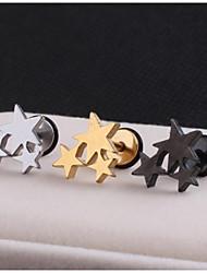 Lureme®316L Surgical Titanium Steel Three Stars Single Stud Earrings (Random Color)