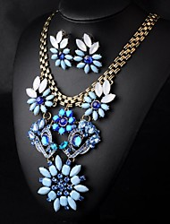 Women's Retro Crystal Diamond Flower (Necklace&Earrings) Jewelry Sets