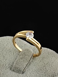 Women's New Fashion Simple Elegant 18K Gold Plated Zircon Ring J0737