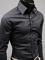 QCH Männer Langarmshirt Gentleman Shirts (Schwarz)