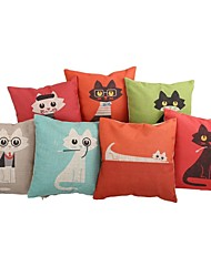 """Createforlife® 18"""" Set of 7 Colorful Glasses Cats Pillow Case Cushion"""