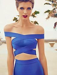 Women's Solid Blue T-shirt , Off Shoulder Sleeveless Criss-Cross