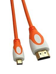 MICRO HDMI Cable 1.4V MICRO HDMI Male to HDMI Male Orange and White Gold-Plated Head