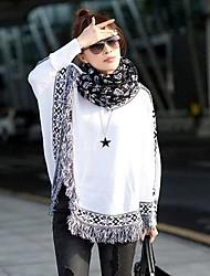 Women's Loose Bat Wing Sleeve Tassels Hem Cloak Style Knit Sweater Pullover