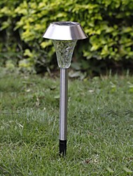 1-LED Branco Aço Inox Solar Luz Caminho Jardim Grama
