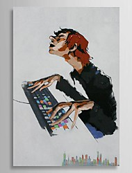 Hand Painted Oil Painting People Play Computer's Boy with Stretched Frame