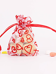 Red Translucent Heart Shaped Favor Bags - Set of 12