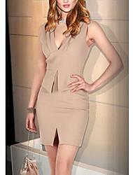 Fenya Women's V Neck Front Slit  Sleeveless Dress