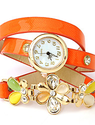 wagen u Blumendruck PU-Leder umwickelt Armband-Uhren
