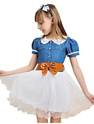 Vêtements mode princesse filles de mousseline de soie Denim Casual Robes de soirée pour les enfants avec la ceinture