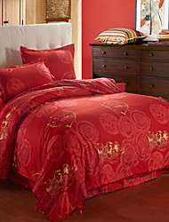 MINGTING Fashion Flower Pattern Red 4Pcs Cover Set:Duvet Cover,Coverlet,Pillowcase*2