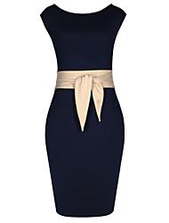 MS Women'S Almond Cor Na cintura contraste cor do vestido