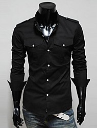 Men's Shirt Collar Casual Shirts,Cotton Blend Long Sleeve Casual Lesen