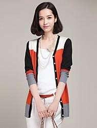Women's Red/Black/Yellow Cardigan , Cute Long Sleeve