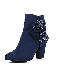 Damesschoenen - Formeel - Zwart / Blauw / Bruin - Blokhak - Modieuze laarzen - Laarzen - Suède