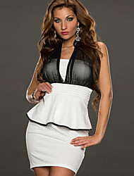 Girls Night Women's Color Block Pink / White Dresses , Sexy / Casual / Party Mid Rise Sleeveless