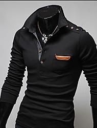 Tizeland Men's Lapel Neck Embroider Long Sleeve T-Shirt