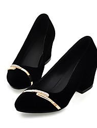 Women's Shoes Round Toe Chunky Heel Pumps Shoes