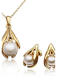 Women's 18K Rose Gold Prong Pearl (Necklace&Earrings) Jewelry Sets