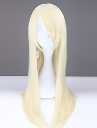 Women Lady Fashion Capless Blonde Long Wavy Synthetic Wig with Full Bang