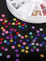 600pcs 12colours Blütenform Acryl Strass Rad Nagelkunstdekoration