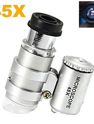 Super-Mini-Kunststoff-Mikroskop 45X optisches Glas-Objektiv mit 2-LED Beleuchtungslampen (3 * LR927)