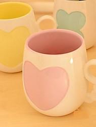 Love Heart Clover Ceramic Breakfast Coffee Mug Random Color,8.5x7x9.5cm