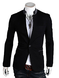 VSKA Men's Single Button Contrast Color Black Suit Coat