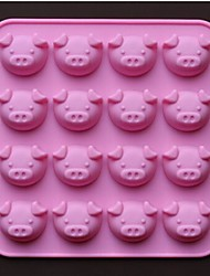 Forma del cerdo 16 hoyos molde moldes de chocolate pastel de silicona 17,5 × 17,5 × 1,5 cm (6,9 × 6,9 × 0,6 pulgadas)