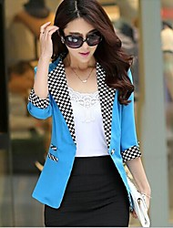 Women's Blue/Pink/White/Black/Green/Yellow Blazer , Bodycon ¾ Sleeve/Long Sleeve