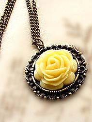 MISS U Frauen eleganter Rosen-Muster lange Halskette