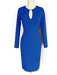 Women's Party/Cocktail Sexy / Vintage Sheath Dress,Solid Deep V / Asymmetrical Above Knee Long Sleeve Blue / Red / Black / GreenAll