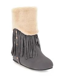 Zapatos de mujer - Tacón Cuña - Botas de Nieve - Botas - Casual - Ante - Marrón / Amarillo / Gris / Peltre