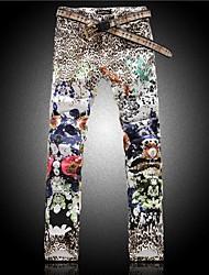 Men's Leopard Print Flower Denim Pants Jeans