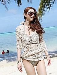moda feminina gola redonda bege crochet oco meia-manga swimwear swimsuit bikini cover-up