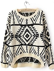 Women's Round Geometry Print Pullover Sweater