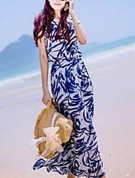 SHUXUE Women's Bohemian Print Chiffon Maxi Beach Dress