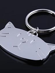 o gato forma de metal prateado brinquedos chaveiro
